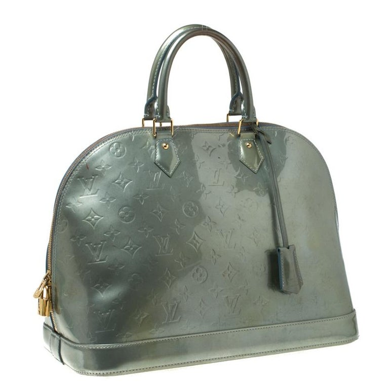 Gray Louis Vuitton Light Green Monogram Vernis Alma GM Bag