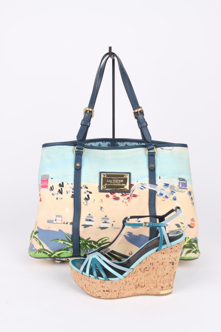 Louis Vuitton Limited Edition Blue Canvas Escale Ailleurs Cabas PM Beach  For Sale 7