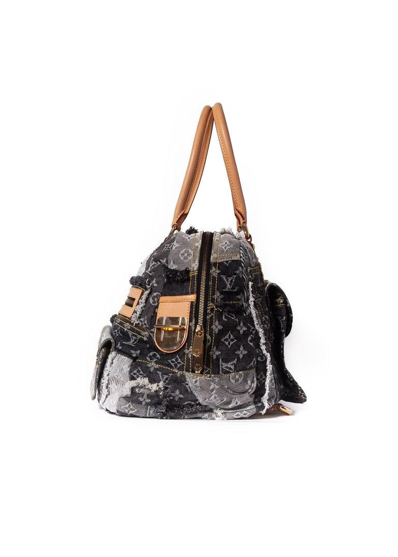 Black Louis Vuitton Limited Edition Blue Denim Monogram Denim Patchwork Bowly Bag For Sale