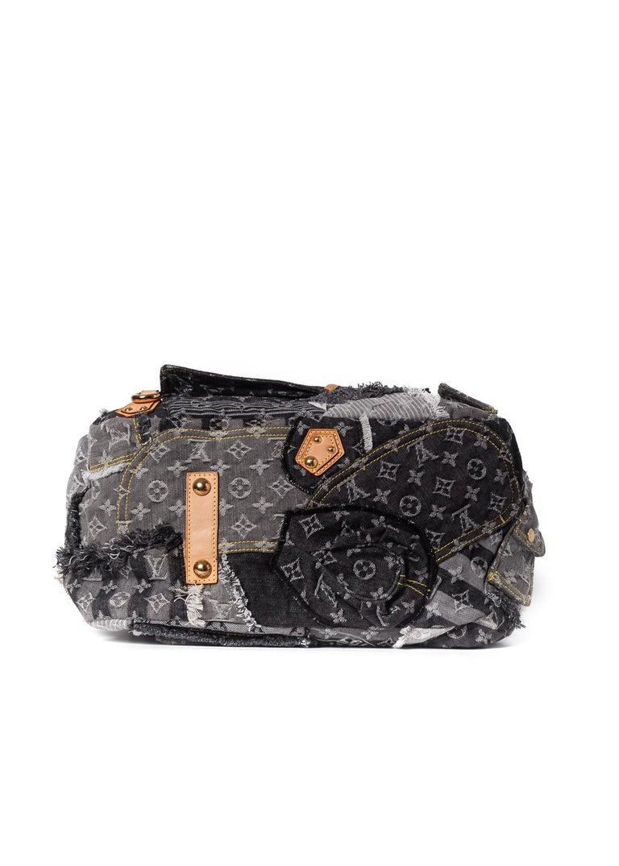 Louis Vuitton Limited Edition Blue Denim Monogram Denim Patchwork Bowly Bag For Sale 2