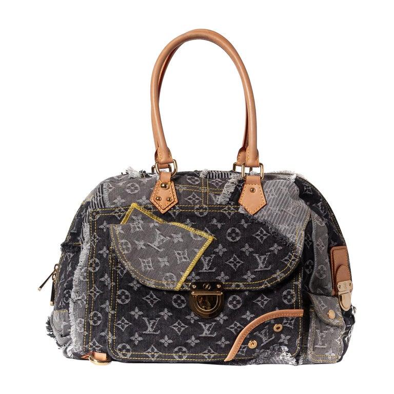 Louis Vuitton Limited Edition Blue Denim Monogram Denim Patchwork Bowly Bag For Sale
