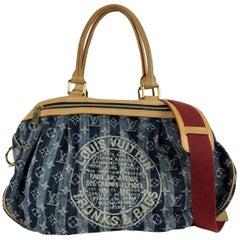 Louis Vuitton Limited Edition Denim Cabas Raye GM Shoulder Bag