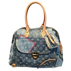 7fdac3ed136b Louis Vuitton Limited Edition Denim Patchwork Bowly Tote Bag