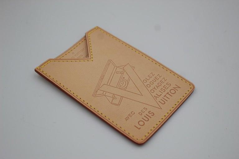 Louis Vuitton limited edition Volez Voguez Voyagez cardholder in natural leather.   Size 9.5 x6.5cm