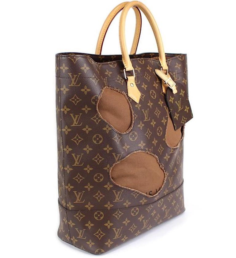 Louis Vuitton Limited Edition Monogram Brown Cut Out Carryall Travel Tote Bag For Sale 1
