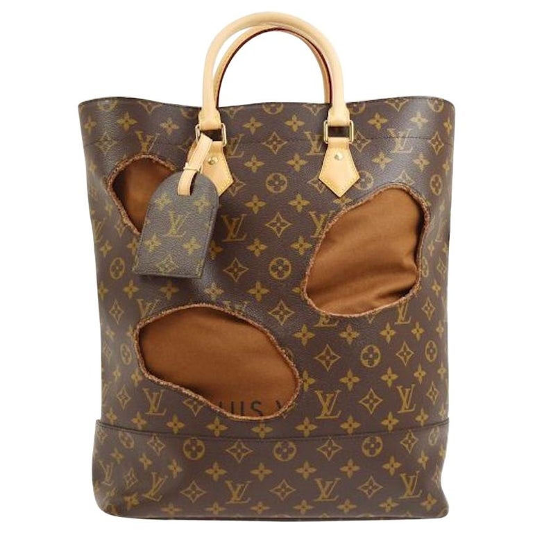 Louis Vuitton Limited Edition Monogram Brown Cut Out Carryall Travel Tote Bag For Sale