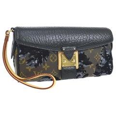 Louis Vuitton Limited Edition Monogram Sequin Evening Clutch Wristlet Wallet Bag