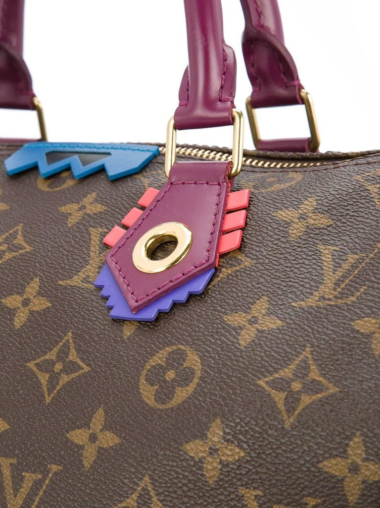 Gray Louis Vuitton Limited Edition Monogram Top Handle Satchel Bag With Lock and Keys For Sale