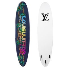 Louis Vuitton Limited Edition Multi Color White Logo Surfboard in Storage Bag