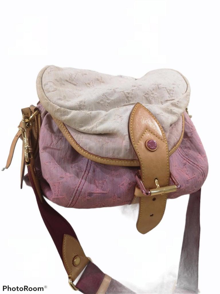 Brown Louis Vuitton Limited Edition Rose Purple Monogram Denim Sunshine Bag For Sale