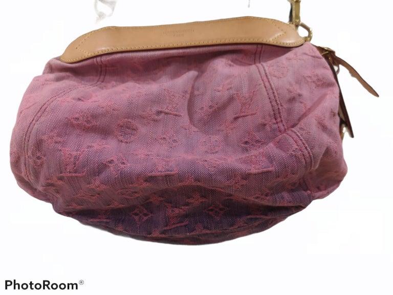 Women's Louis Vuitton Limited Edition Rose Purple Monogram Denim Sunshine Bag For Sale