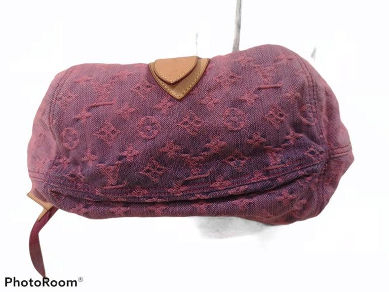 Louis Vuitton Limited Edition Rose Purple Monogram Denim Sunshine Bag For Sale 1