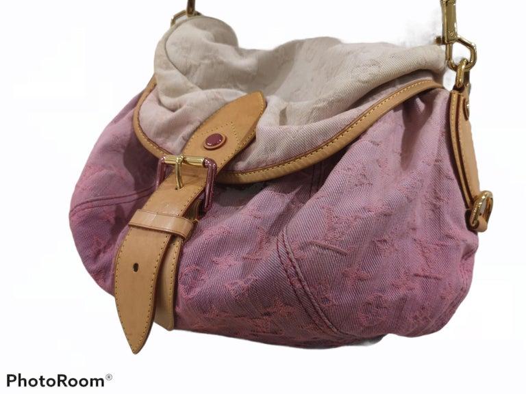 Louis Vuitton Limited Edition Rose Purple Monogram Denim Sunshine Bag For Sale 2