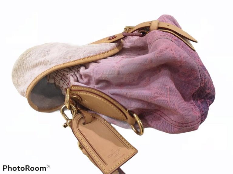 Louis Vuitton Limited Edition Rose Purple Monogram Denim Sunshine Bag For Sale 3