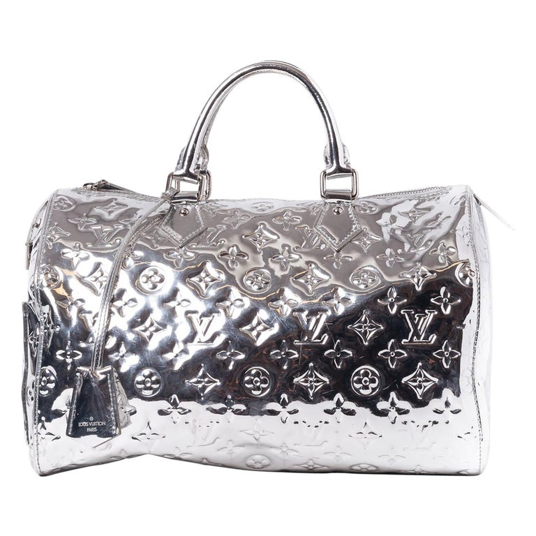 Louis Vuitton Limited Edition Silver Monogram Miroir Speedy 35 Runway  For Sale