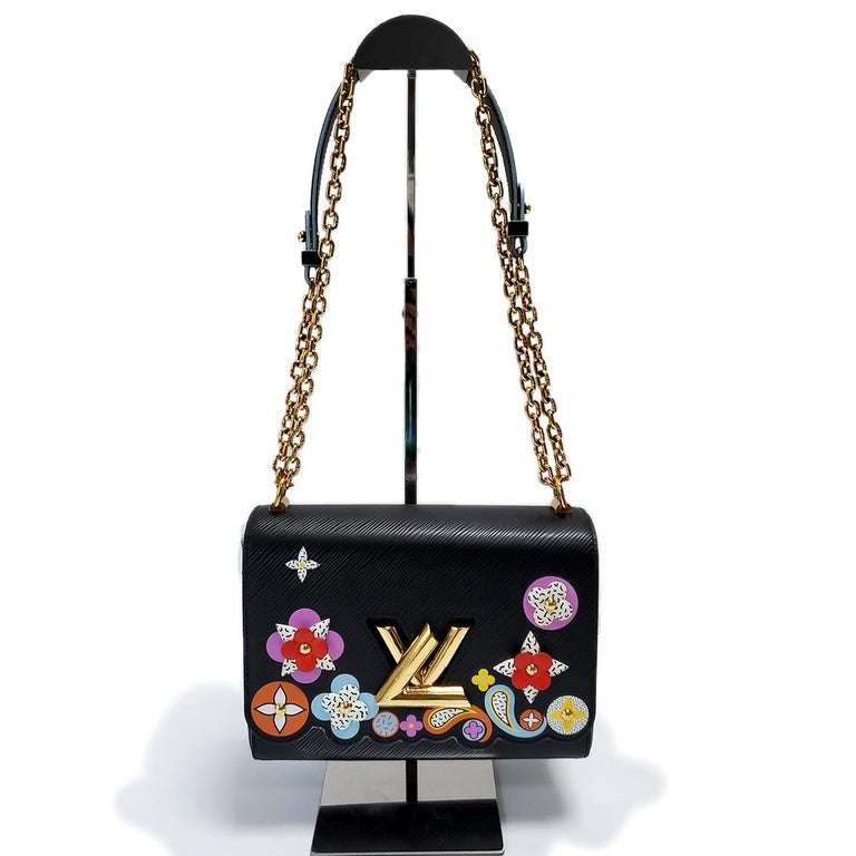 Louis Vuitton Limited Edition Twist Bloom Flower Black Epi Leather Handbag In Excellent Condition For Sale In Columbia, MO
