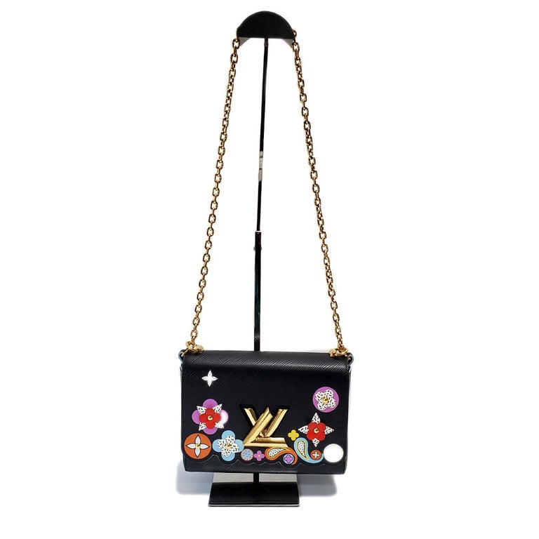 Women's Louis Vuitton Limited Edition Twist Bloom Flower Black Epi Leather Handbag For Sale
