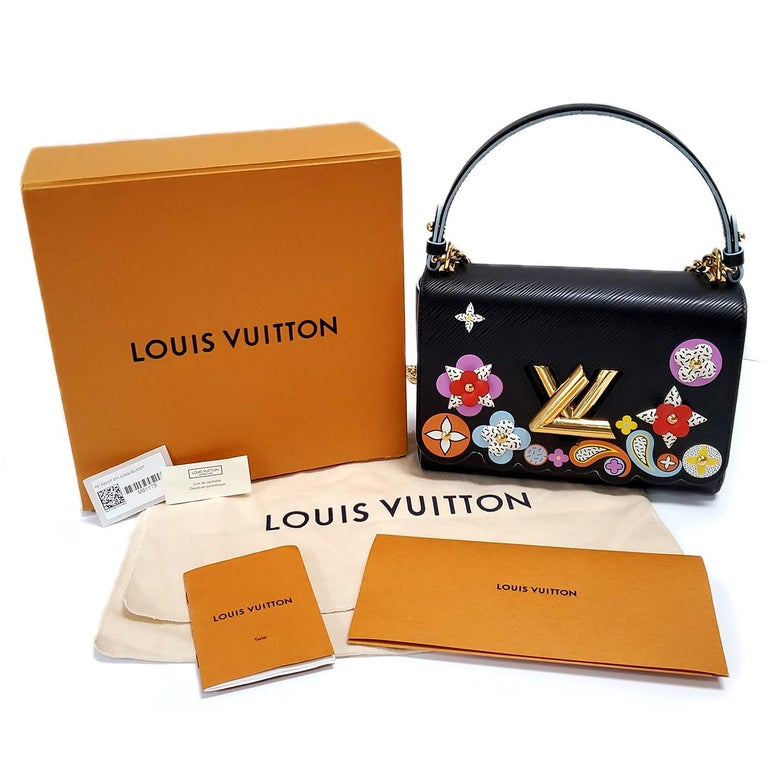Louis Vuitton Limited Edition Twist Bloom Flower Black Epi Leather Handbag For Sale 4