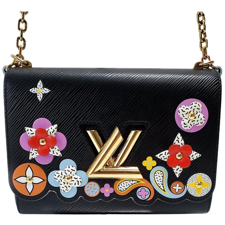 Louis Vuitton Limited Edition Twist Bloom Flower Black Epi Leather Handbag For Sale