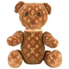 Louis Vuitton Limited Edition Velvet Brown Monogram Toy Novelty Teddy Bear