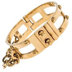 Louis Vuitton Lock Me Frame Gold Tone Cuff Bracelet