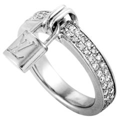 Louis Vuitton Lockit 18 Karat Gold 0.40 Carat Diamond Pave Dangling Lock Ring