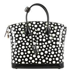 Louis Vuitton Lockit Handbag Kusama Infinity Dots Monogram Vernis MM