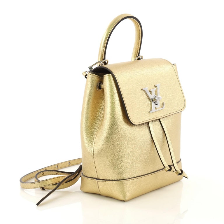 Beige Louis Vuitton Lockme Backpack Leather Mini