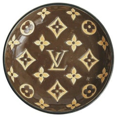 Louis Vuitton Logo Enameled Glazed Porcelain Bowl by Longwy Mid-Century Modern