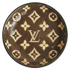 Louis Vuitton Logo Enameled Glazed Porcelain Bowl by Longwy Mid-Century Modern