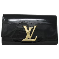 Louis Vuitton Louise Clutch GHW Black Patent Leather In Dust Bag