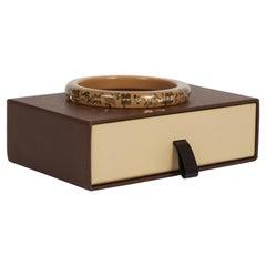 Louis Vuitton Lucite Inlay Logo 2 Tone Bangle Bracelet with Box
