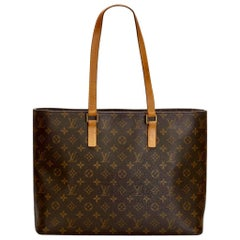Louis VUITTON  Luco Leather Beige Monogram Canvas Tote, Brown