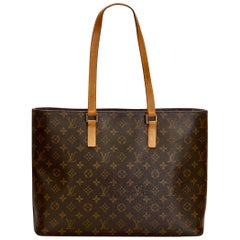 Louis VUITTON  Luco Leather Beige Monogram Canvas Tote, Brown, (Size One Size)