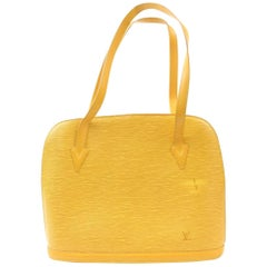 Louis Vuitton Lussac Zip Tote 869777 Yellow Leather Shoulder Bag