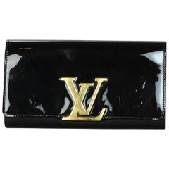 Louis Vuitton LV Black Vernis Patent Leather Louise Logo Wallet