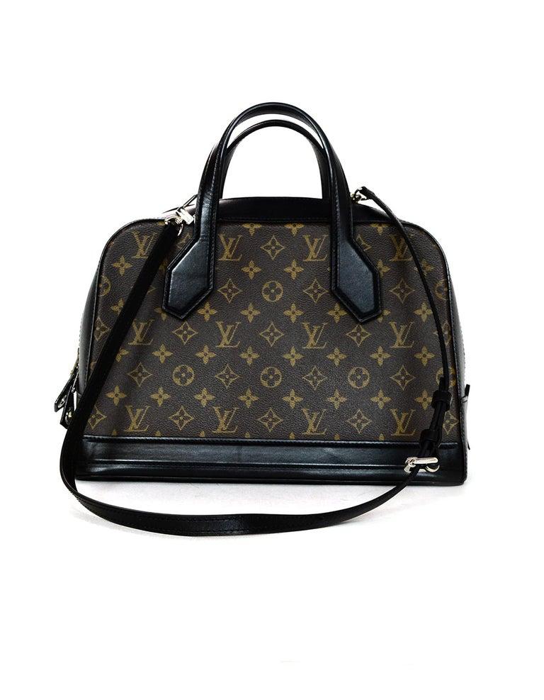 6aeccb6fae2d Women s Louis Vuitton LV Brown Monogram Canvas Black Leather Dora Tote Bag  w  Strap