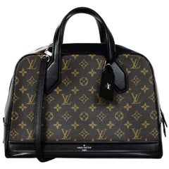 Louis Vuitton LV Brown Monogram Canvas/Black Leather Dora Tote Bag w/ Strap