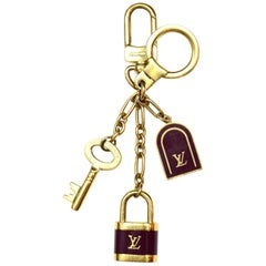 Louis Vuitton LV Burgundy/Gold Porte Cles Cadenas Lock/Key Bag Charm/Key Chain