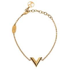 Louis Vuitton LV & Me Letter V Gold Tone Bracelet