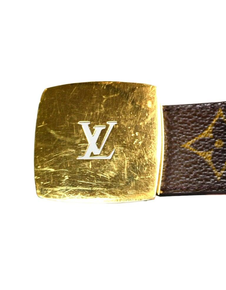 95047b650de8 Louis Vuitton LV Monogram Brown Leather Cut Reversible Belt W  Buckle Sz 80  For
