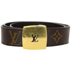 Louis Vuitton LV Monogram/Brown Leather Cut Reversible Belt W/ Buckle Sz 80
