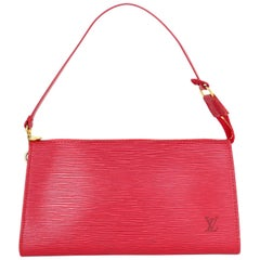 Louis Vuitton LV Red Epi Leather Discontinued Pochette Accessory Bag