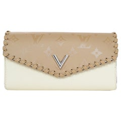 Louis Vuitton LV Sesame Cream/Tan Cowhide Leather Very Wallet, New