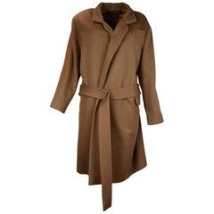 Louis Vuitton LV Tan Wool Coat W/ Belt Sz 38