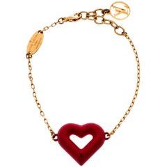 Louis Vuitton LV & V Red Gold Tone Bracelet
