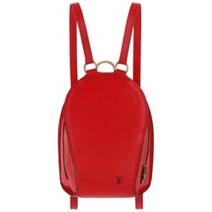 "LOUIS VUITTON ""Mabillion"" Carmine Red Epi Leather Zip Around Backpack"