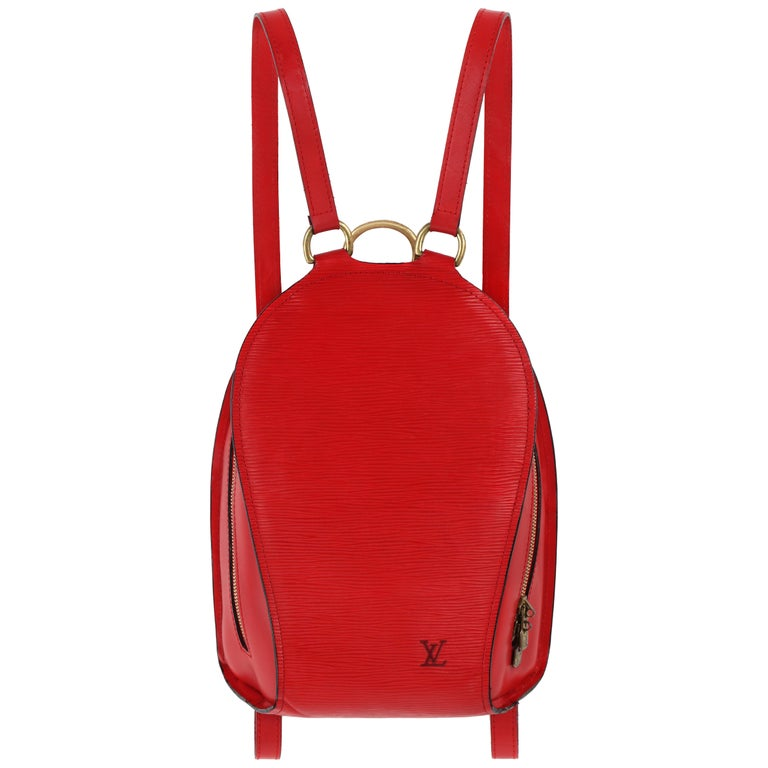 """LOUIS VUITTON """"Mabillion"""" Carmine Red Epi Leather Zip Around Backpack"""