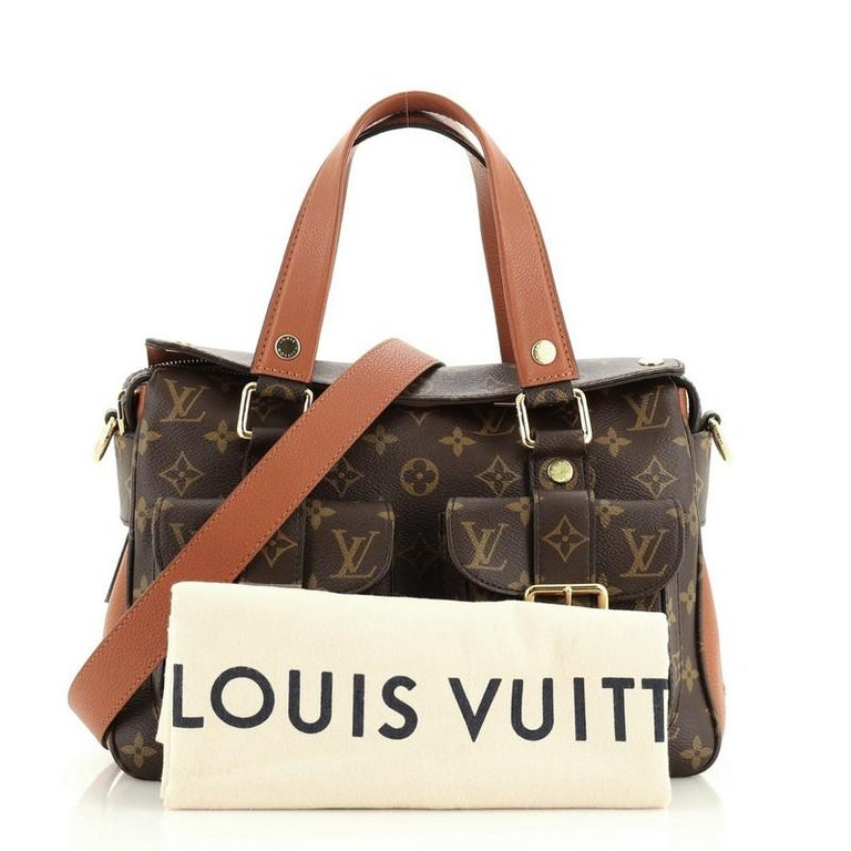 This Louis Vuitton Manhattan NM Handbag Monogram Canvas with Leather, crafted in brown monogram coated canvas with leather, features dual flat leather handles, two exterior front flap pockets with buckle closure, and gold-tone hardware. Its magnetic