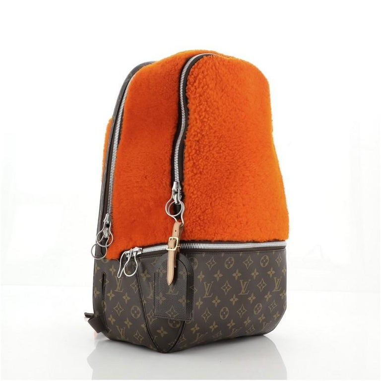 Orange Louis Vuitton Marc Newson Backpack Shearling and Monogram Canvas For Sale